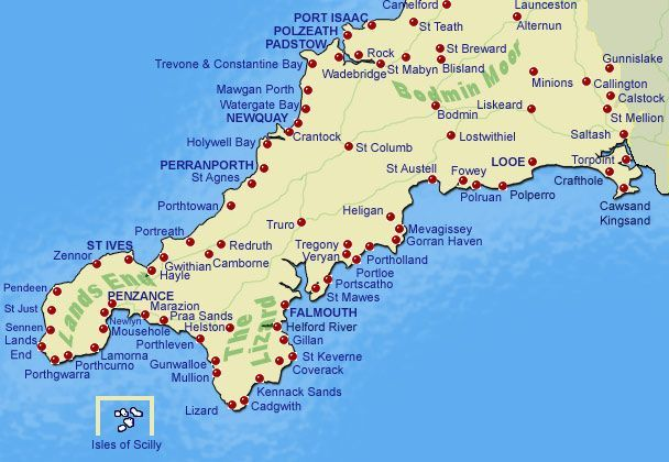 Map of the Surfing Beaches in Cornwall